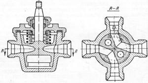 Крановый распределитель с пружинным поджимом