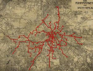 Схема берлинской почтовой пневмосети (1928 год)