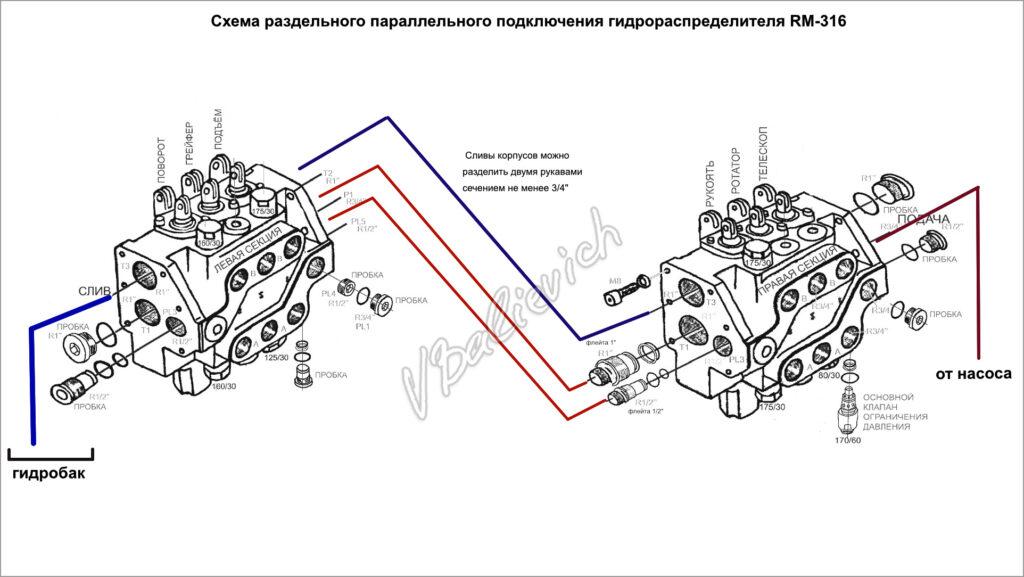 Схема подключения двух моноблоков RM-313 в однопоточной схеме